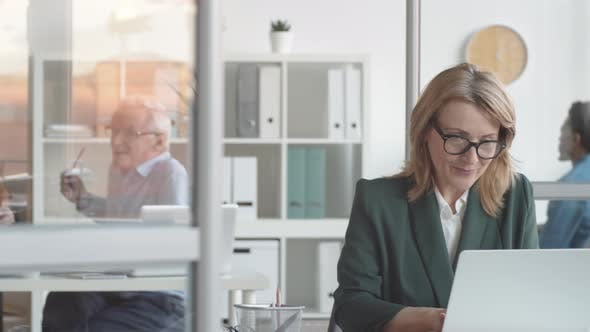 Thumbnail for Confident Middle-Aged Caucasian Woman Typing on Laptop and Smiling in Office