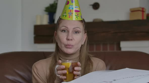 Thumbnail for Sad Caucasian Woman Celebrating Birthday Online on Covid-19 Lockdown