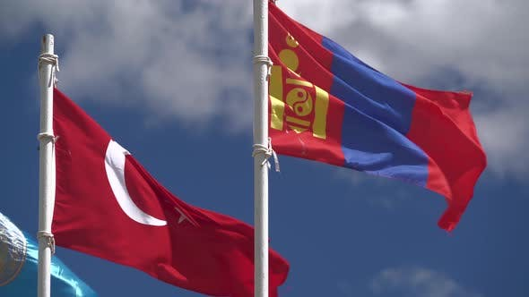 Thumbnail for Turkish and Mongolian Flag Waving on Flagpole