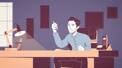Stressed businessman working in the office, cartoon animation