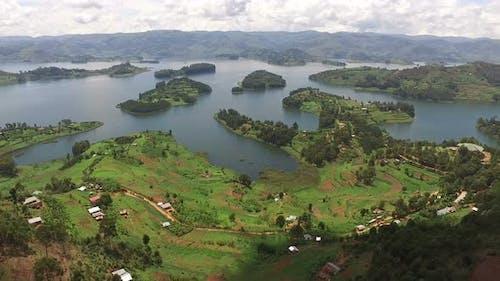 Aerial view of  Lake Bunyonyi in Uganda