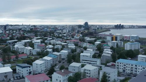 Aerial View of Reykjavik the Capital and Largest City of Iceland