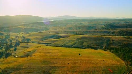 Luftbild auf ländliche Szene in sanftem Licht