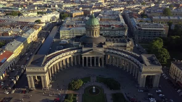 Aerial Footage on Kazan Cathedral in the Center of Saint-Petersburg City.
