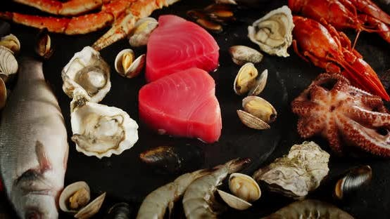 Thumbnail for The Range of Different Types of Seafood Rotates on Table