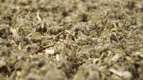 Crushed medical herb close up