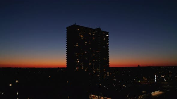 Sunset and a Silhouette of the Domus Vista Residential Building in Copenhagen