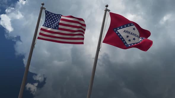 Waving Flags Of The United States And Arkansas  State Flag 2K