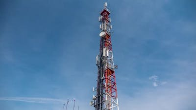 Timelapse Of A 5G Network Tower