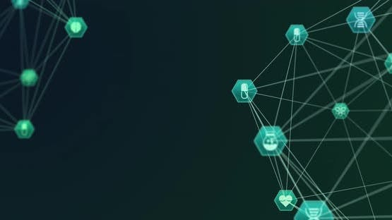 Animation of two globes of network connections with green and blue health icons