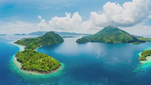 Aerial panoramic view of Banda Islands the nutmeg islands in Indonesia Moluccas