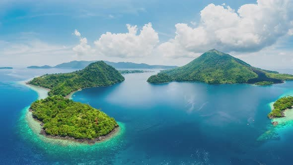Thumbnail for Aerial panoramic view of Banda Islands the nutmeg islands in Indonesia Moluccas