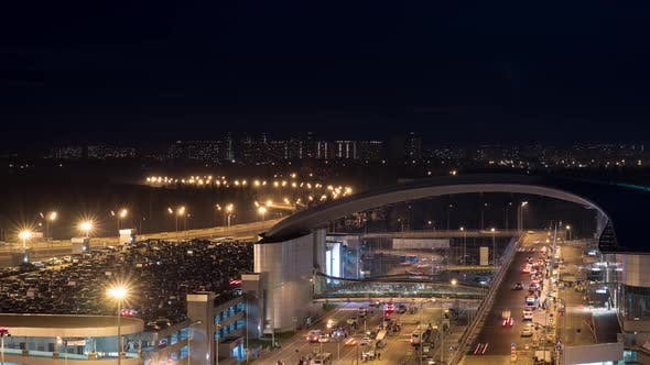 Thumbnail for Timelapse of Busy Car Traffic in Night Illuminated City