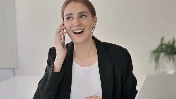 Cover Image for Phone Talk by Young Businesswoman, Negotiation
