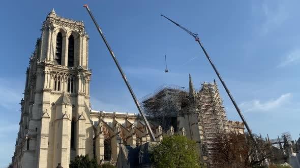 Reconstruction of Notre Dame De Paris in Process Paris France