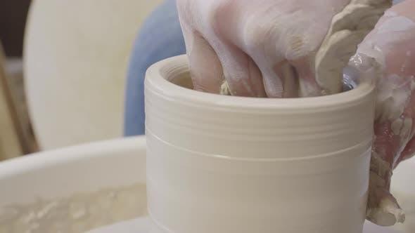 Thumbnail for Skillful Artisan Making Argil Pot on Potter Wheel