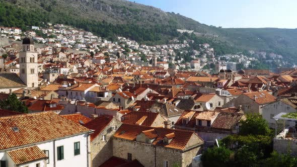 Thumbnail for Panorama Cityscape of Dubrovnik Old Town Roofs in Croatia
