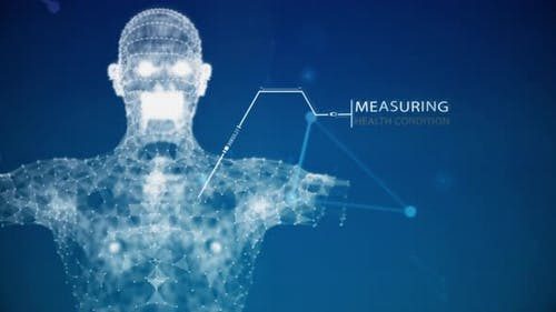 Blue futuristics human body anatomy health scanning by augmented reality with data