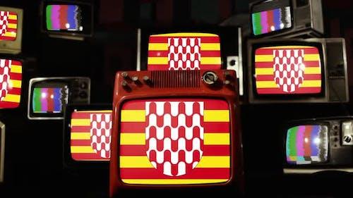 Flag of Girona, Spain, on Retro TVs.