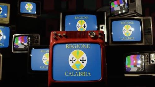 Flag of Calabria, Italy, on Retro TVs.