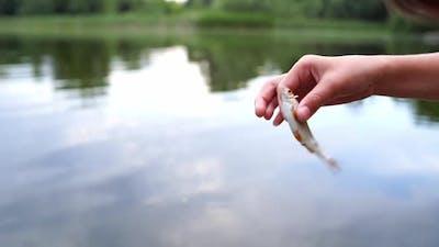 Woman having fun with fish. Woman having fun with fish