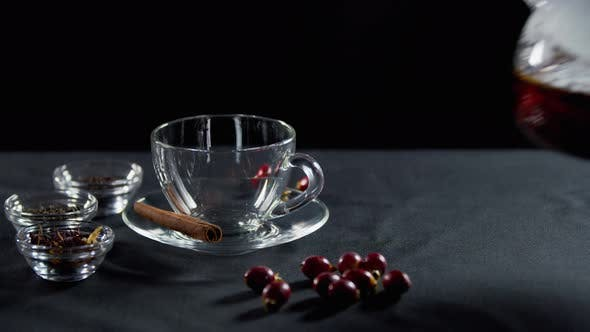 A Cup with Different Sorts of Tea on the Side, Teapot with Fresh Hot Tea,