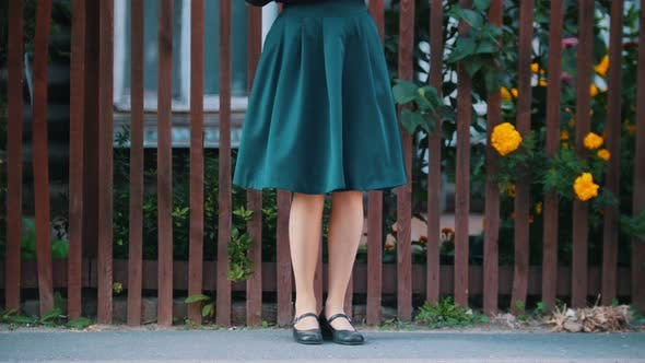 Thumbnail for A Young Pretty Woman in Emerald Skirt Dancing Wearing Black Shoes By the Fence