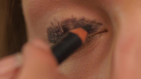 Thumbnail for Eye Makeup Woman Applying Eyeshadow Powder, Close Up. Slow Motion