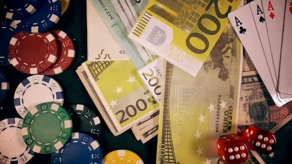 Thumbnail for Gambling Money Chips Poker Cards And Red Dices 44