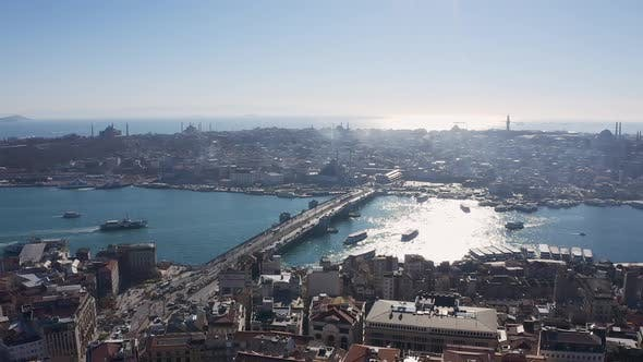 Thumbnail for Istanbul Galata Tower And Bridge Aerial View 2