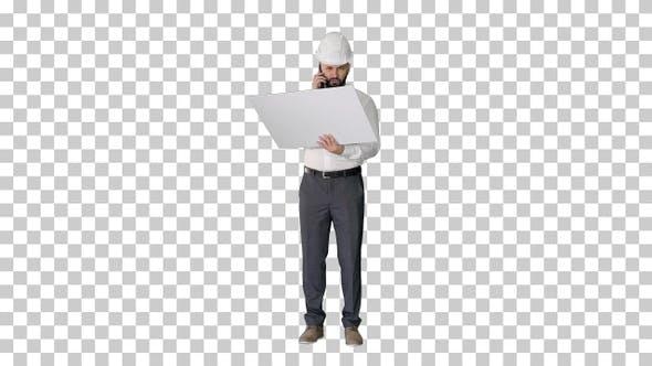 Engineer in formalwear and hardhat talking, Alpha Channel