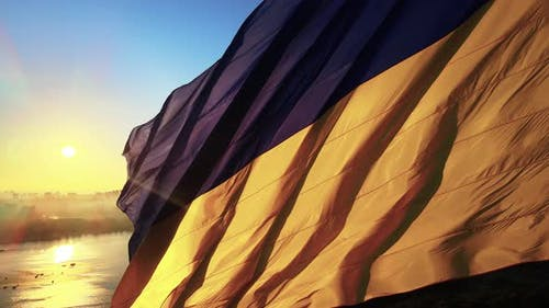 Kyiv - National Flag of Ukraine By Day. Aerial View. Kiev