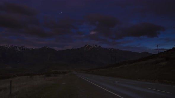 Abendstraße in Neuseeland