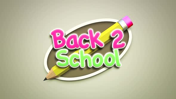 Animated closeup text Back to School and closeup of kids background with colourful pencil