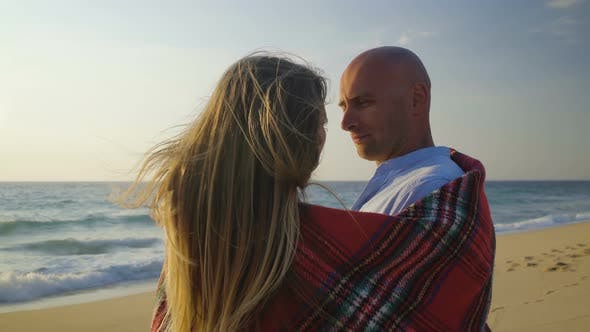 Thumbnail for Couple in Love Kissing in Sandy Beach