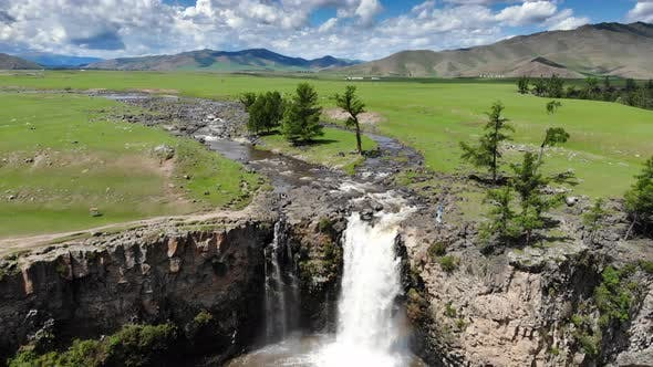 Aerial Waterfall in Central Asian Lands
