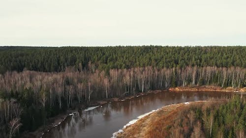 Melting Snow and Ice at River Gauja Near Beautiful Sand Cliff Cinematic Aerial