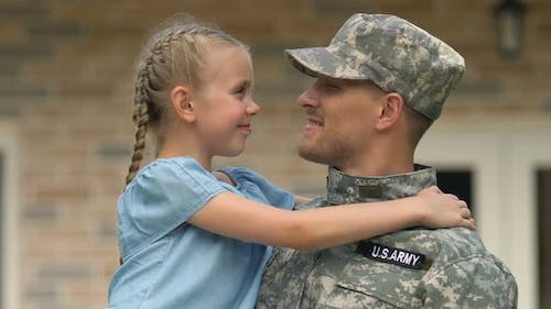 Joyful Daughter Looking at Father Military Uniform, Soldier Homecoming, Patriot