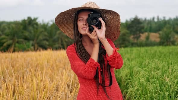 Thumbnail for Portrait Happy Woman Taking Pictures with Vintage Camera Sunlight Travel Girl Spring Beautiful