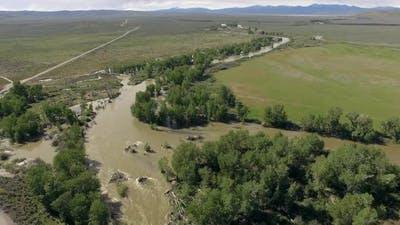Aerial view of Big Wood River flooding