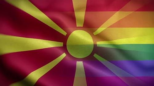 LGBT Macedonia Flag Loop Background 4K