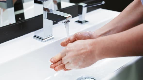 Thumbnail for Real time video of washing hands guide. Shot with RED helium camera in 8K.
