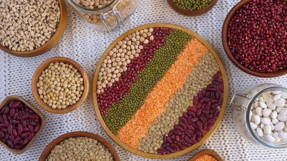 Thumbnail for Legumes: Mung Beans, White And Red Kidney Beans, Chickpea, Soybeans, Orange And Green Lentils.