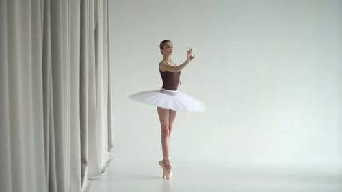 Ballerina in White Ballet Tutu Practicing in Dance Studio. Young Girl Dancing Classical Pas and