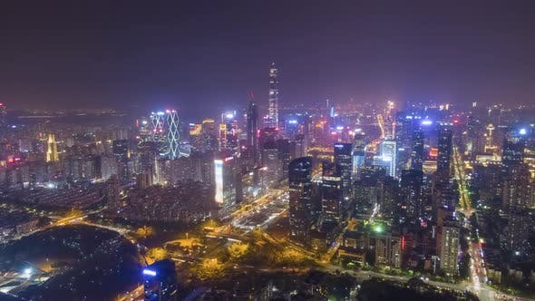 Shenzhen Urban Cityscape at Night. Skyscrapers of Futian District. China. Aerial View