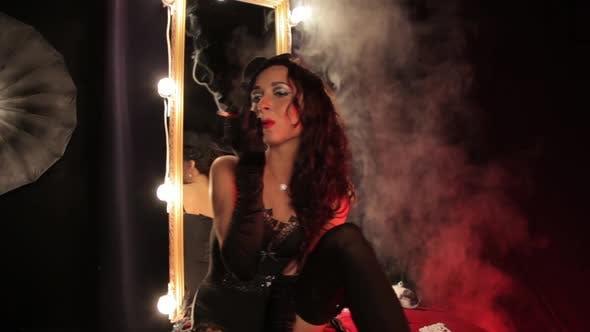 Thumbnail for Burlesque Style Girl Smokes a Cigar