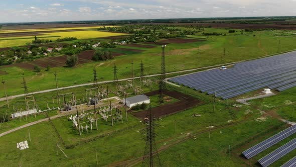 Thumbnail for Landscape of a Beautiful Field with Solar Panels on It, Solar Energy,