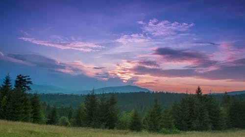 Sunset in the Cloudless Sky over Wooded Mountains