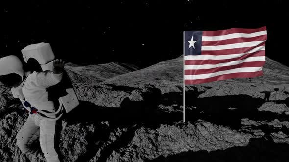 Thumbnail for Astronaut Planting Liberia Flag on the Moon