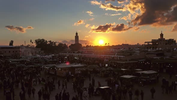 Thumbnail for Jemaa El Fna Square Crowded at Sunset, Marrakesh